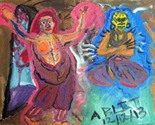 """Animus: The Clash of Auras Size: 16"""" x 20"""" Media: Acrylic on Canvas"""