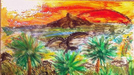 "Sunset in Paradise (2013) Size: 11"" x 14"" Media: Pastel on Wood"