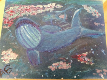 Blue Whale Swimming by Krill - 11x14