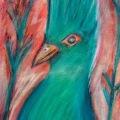 Curious Green Bird –11×14
