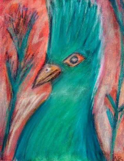 Curious Green Bird - 11x14