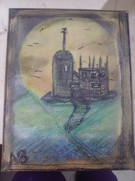 Gothic Midnight Castle - 11x14