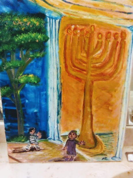 Light and Shadow, and the Great Maccabean Menorah and the Tree of Life - 18x24
