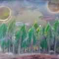 Metallic Midnight Forest –16×20
