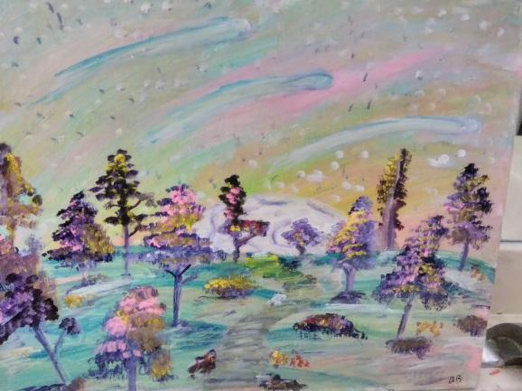 Pastel Star Garden - 16x20 - $400
