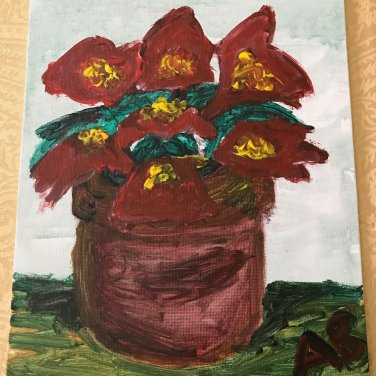 Potted Poinsettia - 8x10