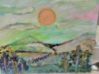 The Sun Sets on Pastel Mountain - 16x20